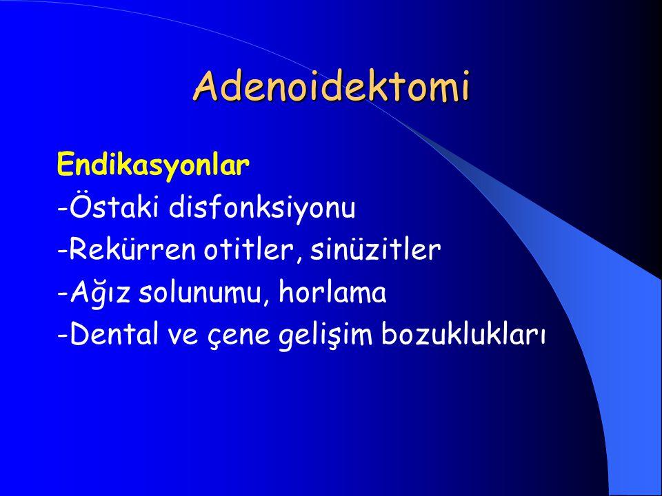 Adenoidektomi Endikasyonlar -Östaki disfonksiyonu
