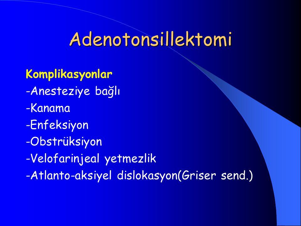 Adenotonsillektomi Komplikasyonlar -Anesteziye bağlı -Kanama