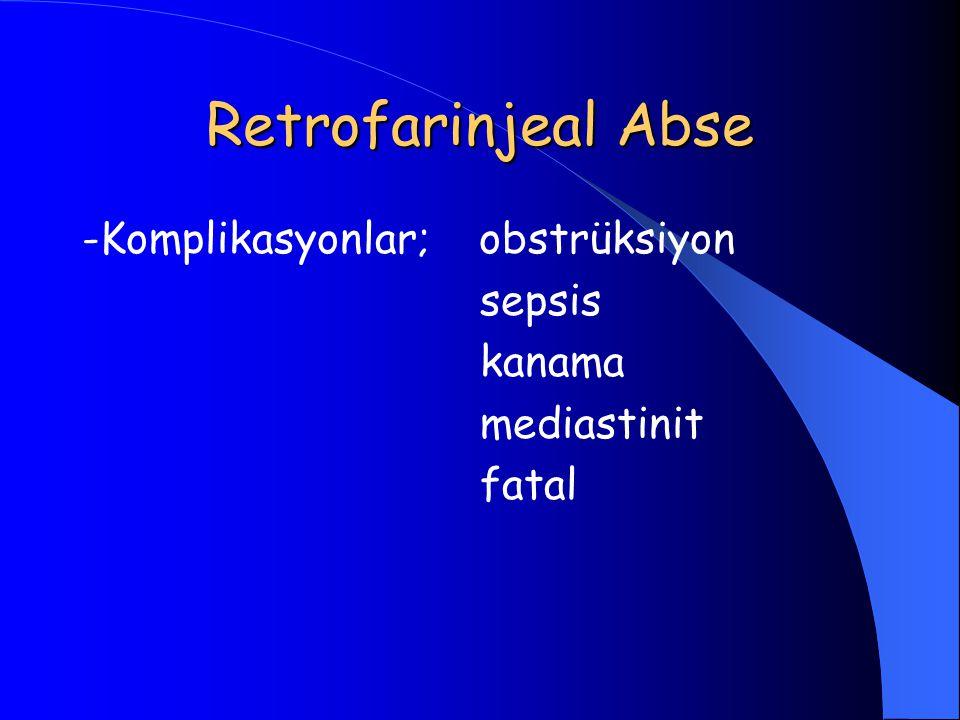 Retrofarinjeal Abse -Komplikasyonlar; obstrüksiyon sepsis kanama