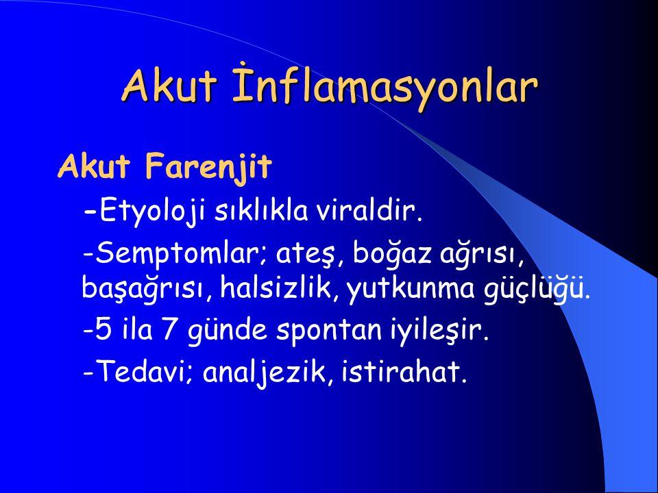 Akut İnflamasyonlar Akut Farenjit -Etyoloji sıklıkla viraldir.