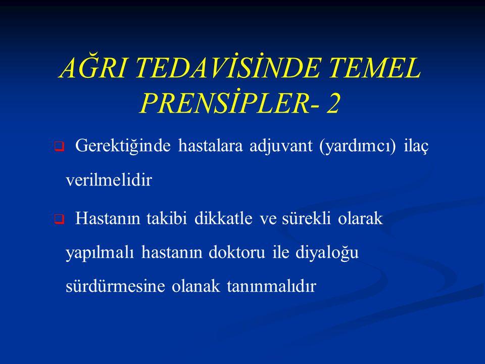 AĞRI TEDAVİSİNDE TEMEL PRENSİPLER- 2