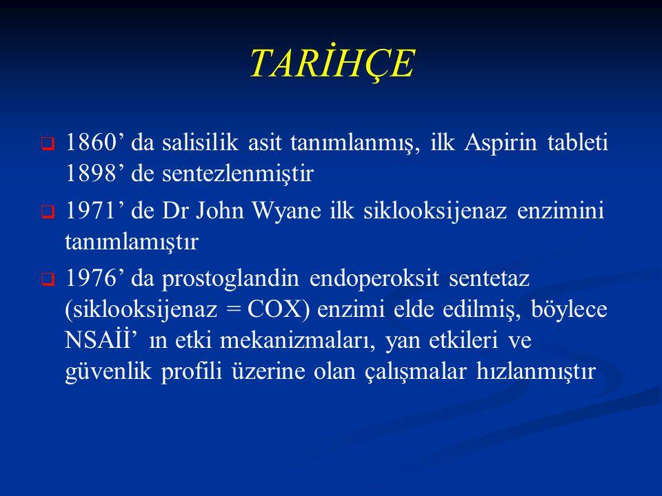 TARİHÇE 1860' da salisilik asit tanımlanmış, ilk Aspirin tableti 1898' de sentezlenmiştir.