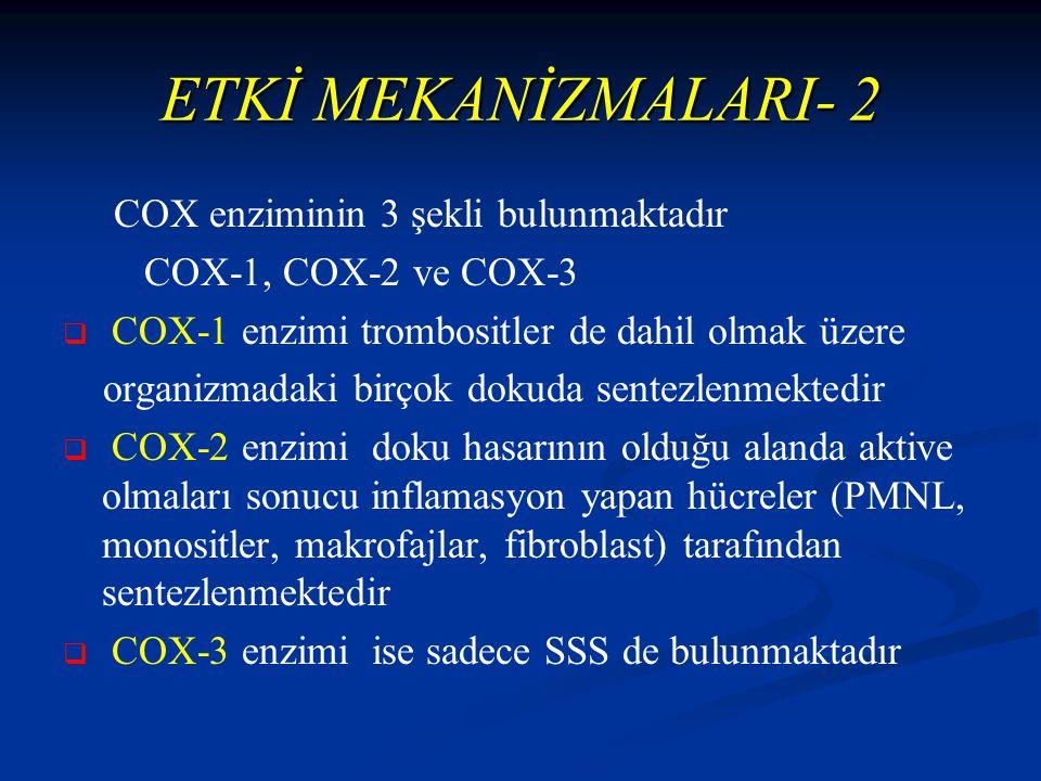 ETKİ MEKANİZMALARI- 2 COX enziminin 3 şekli bulunmaktadır