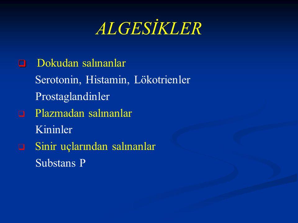 ALGESİKLER Dokudan salınanlar Serotonin, Histamin, Lökotrienler