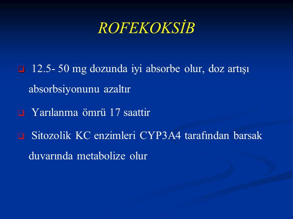 ROFEKOKSİB 12.5- 50 mg dozunda iyi absorbe olur, doz artışı absorbsiyonunu azaltır. Yarılanma ömrü 17 saattir.