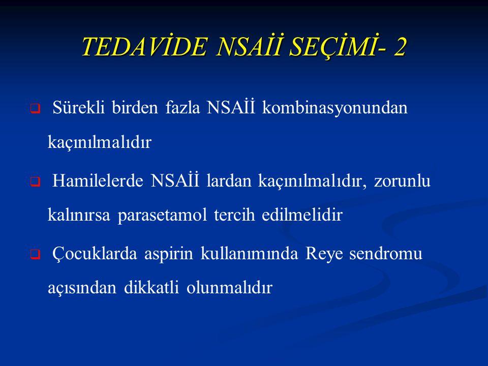 TEDAVİDE NSAİİ SEÇİMİ- 2