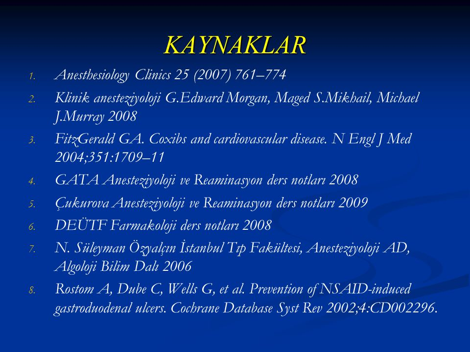 KAYNAKLAR Anesthesiology Clinics 25 (2007) 761–774
