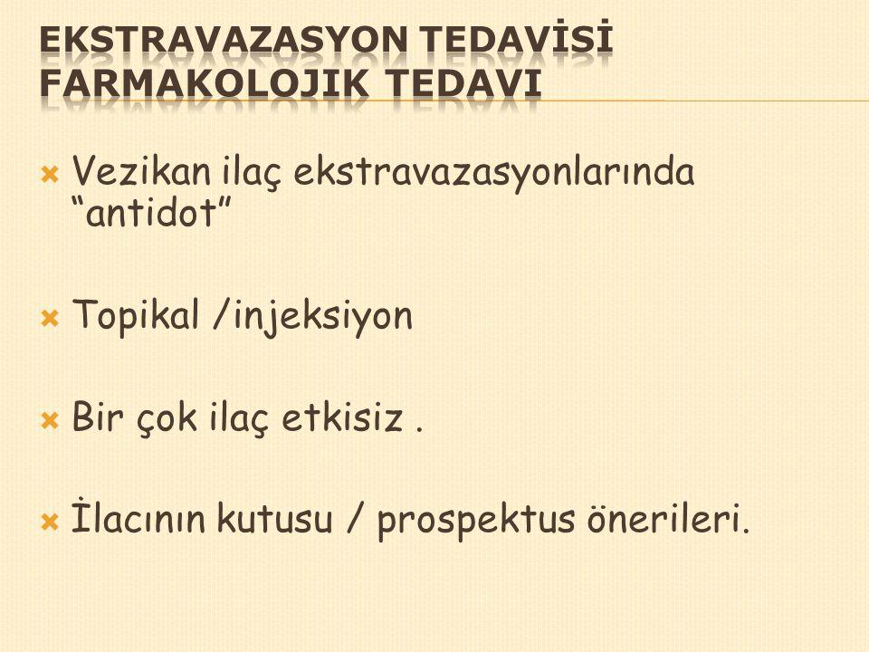 EKSTRAVAZASYON TEDAVİSİ Farmakolojik Tedavi