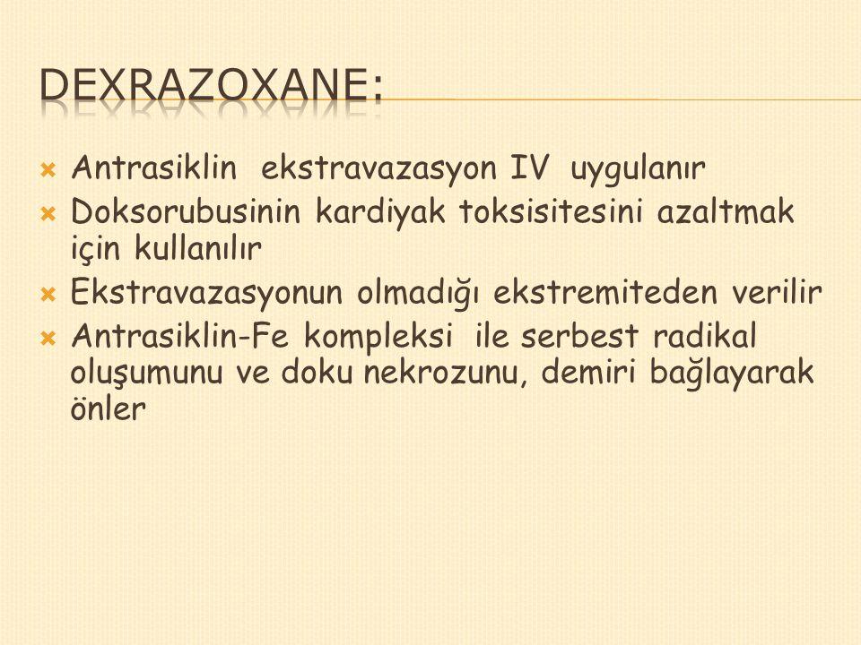 Dexrazoxane: Antrasiklin ekstravazasyon IV uygulanır
