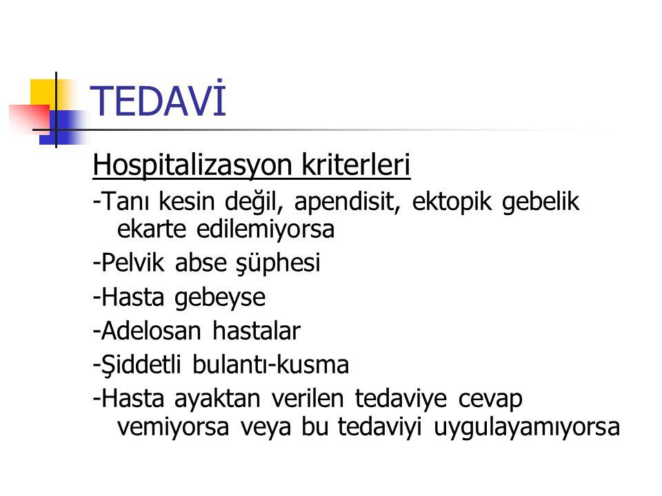 TEDAVİ Hospitalizasyon kriterleri