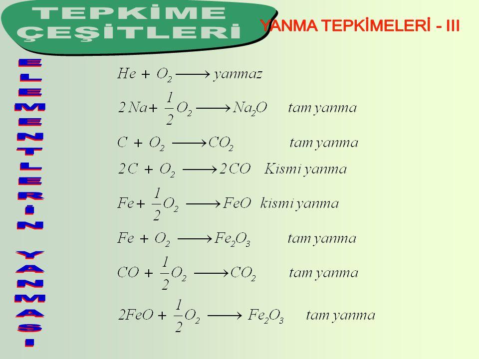 YANMA TEPKİMELERİ - III