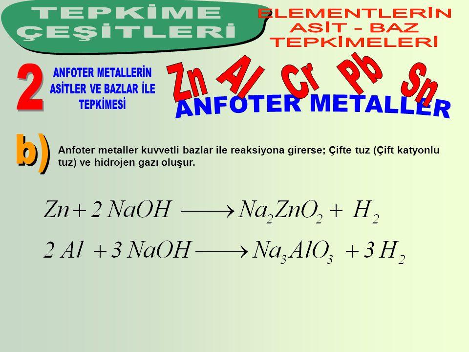 TEPKİME ÇEŞİTLERİ Pb Al Cr Zn Sn ANFOTER METALLER b) 2 ELEMENTLERİN