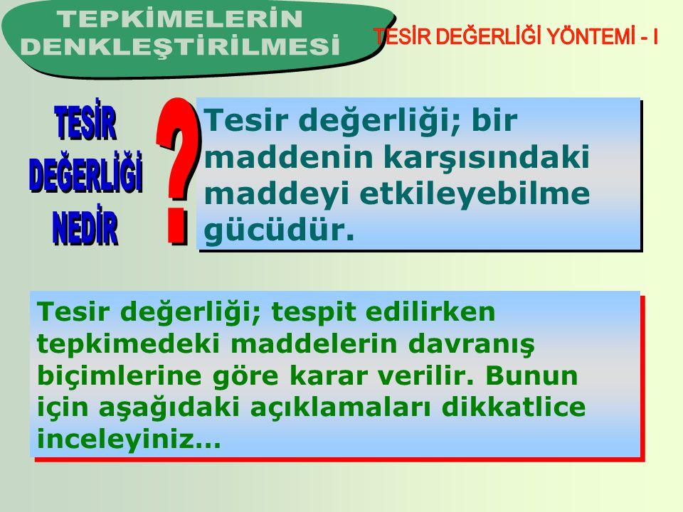 TESİR DEĞERLİĞİ YÖNTEMİ - I