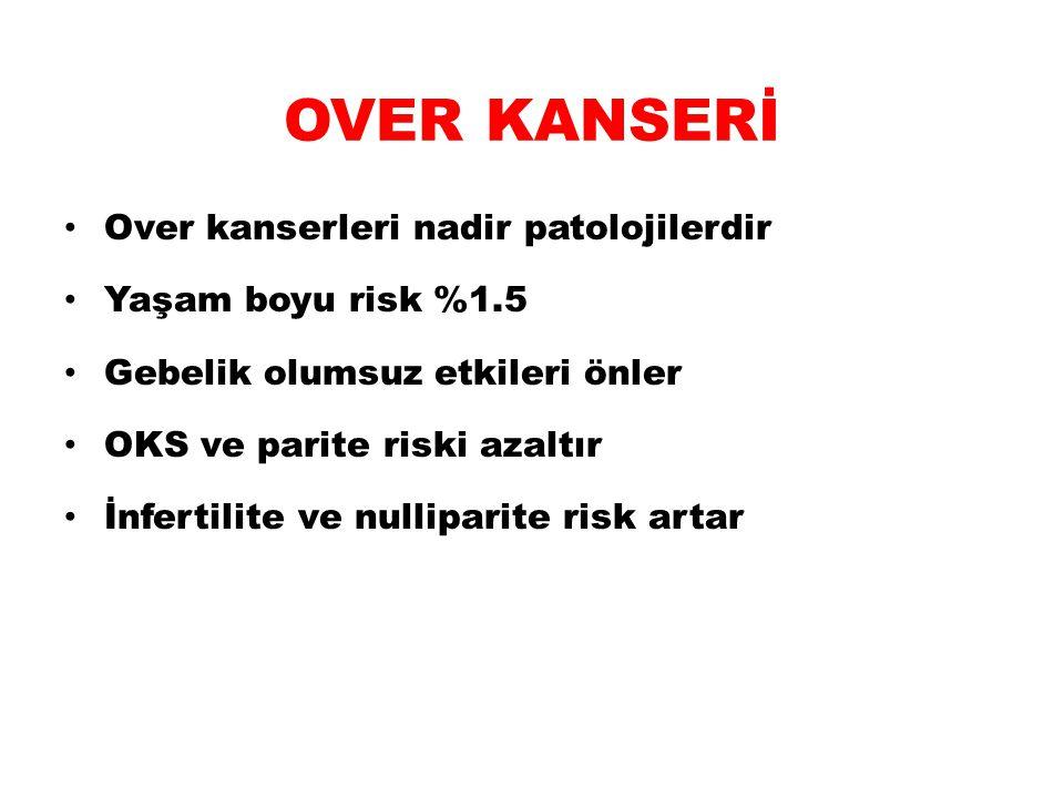 OVER KANSERİ Over kanserleri nadir patolojilerdir Yaşam boyu risk %1.5
