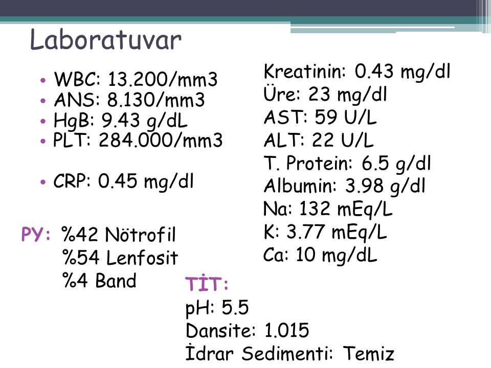 Laboratuvar Kreatinin: 0.43 mg/dl WBC: 13.200/mm3 Üre: 23 mg/dl