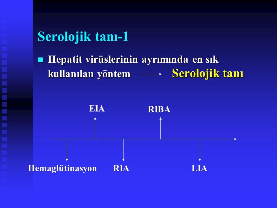 Serolojik tanı-1 Hepatit virüslerinin ayrımında en sık kullanılan yöntem Serolojik tanı.
