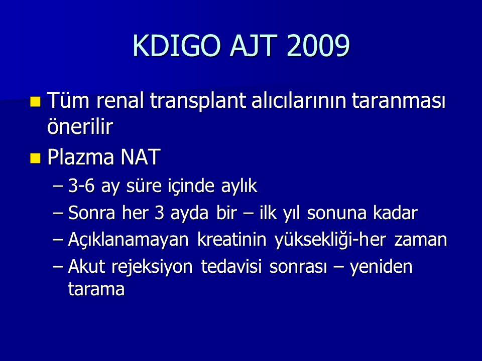 KDIGO AJT 2009 Tüm renal transplant alıcılarının taranması önerilir