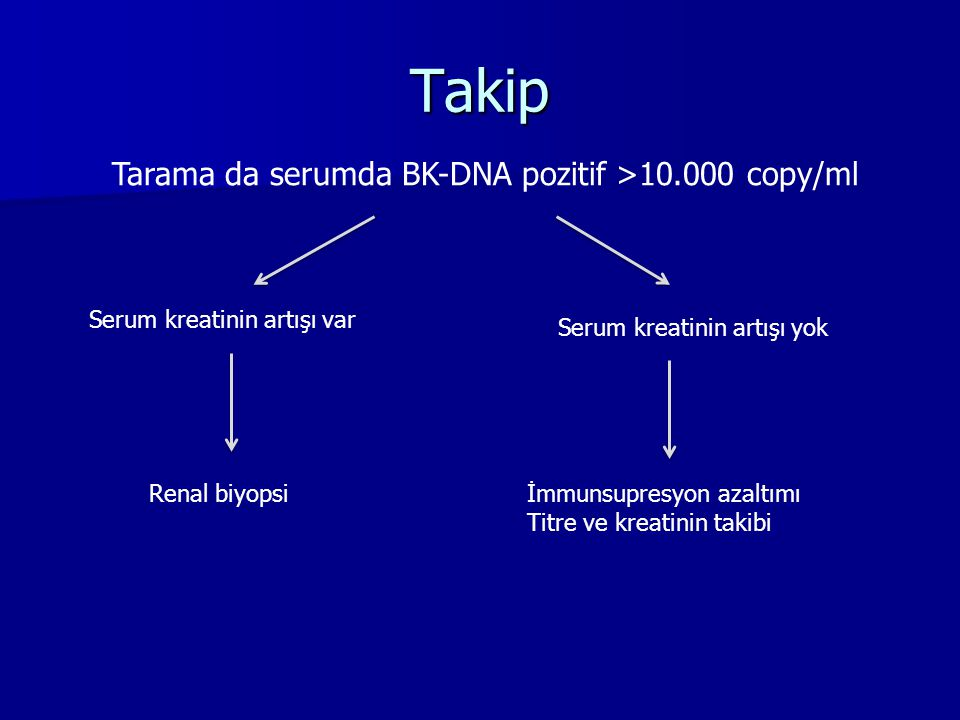 Takip Tarama da serumda BK-DNA pozitif >10.000 copy/ml