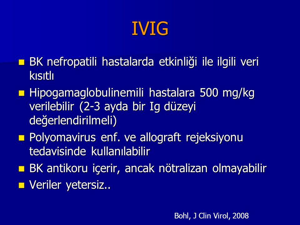 IVIG BK nefropatili hastalarda etkinliği ile ilgili veri kısıtlı