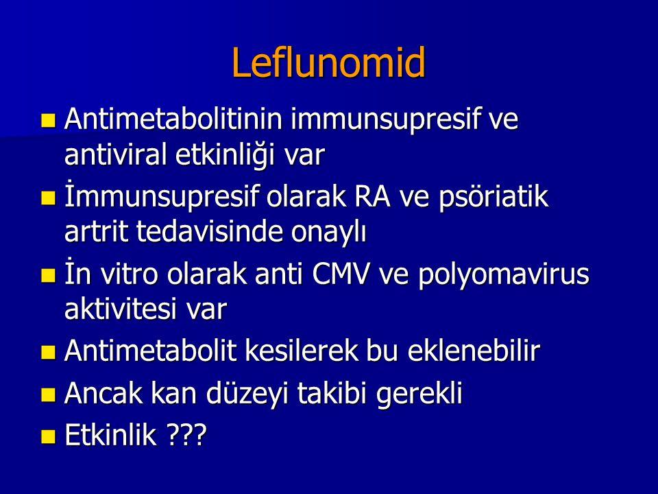 Leflunomid Antimetabolitinin immunsupresif ve antiviral etkinliği var