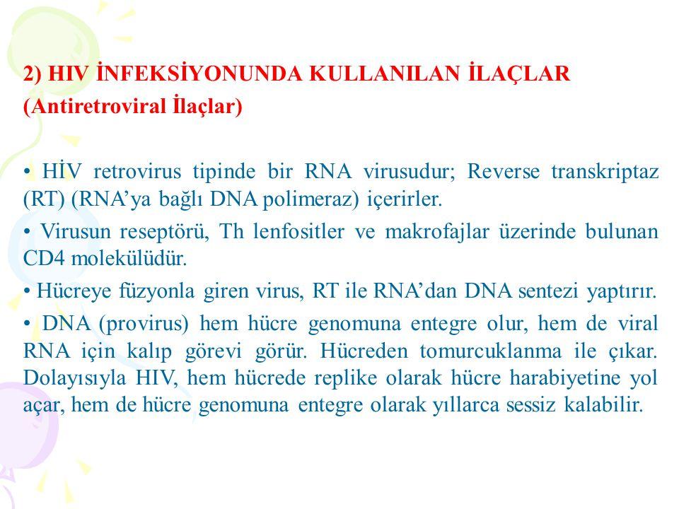 2) HIV İNFEKSİYONUNDA KULLANILAN İLAÇLAR