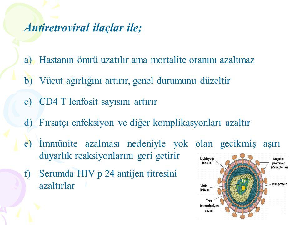 Antiretroviral ilaçlar ile;