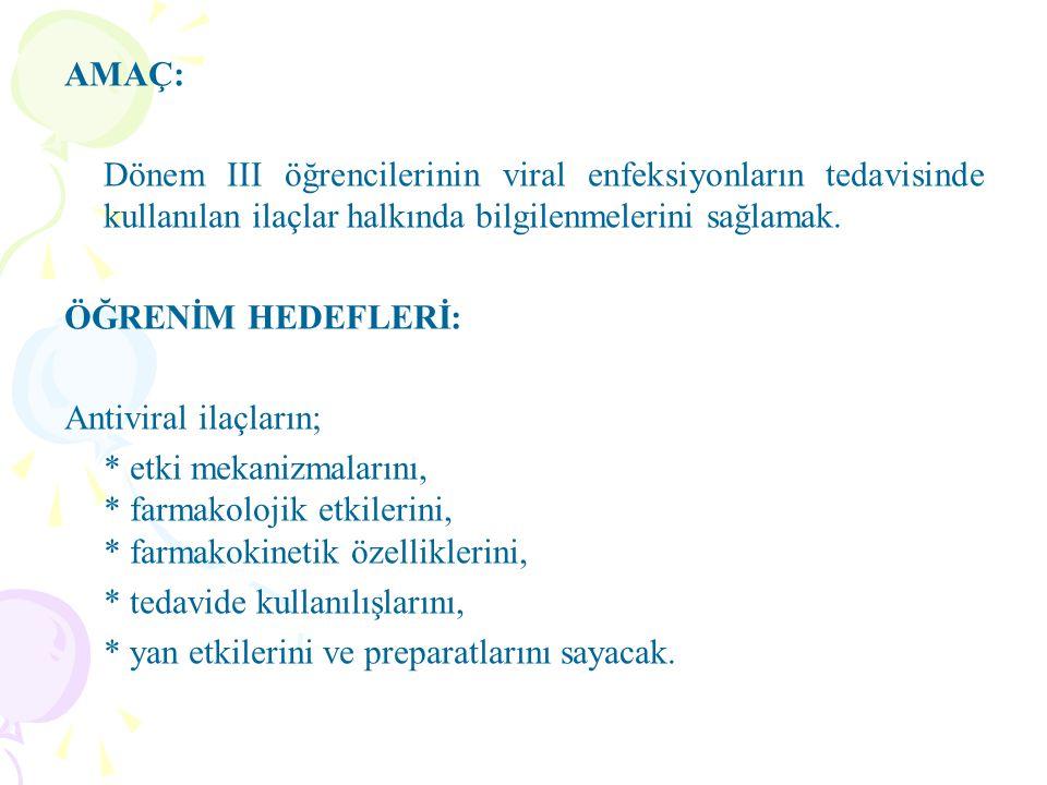AMAÇ: Dönem III öğrencilerinin viral enfeksiyonların tedavisinde kullanılan ilaçlar halkında bilgilenmelerini sağlamak.