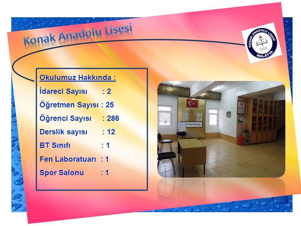 Konak Anadolu Lisesi Okulumuz Hakkında : İdareci Sayısı : 2