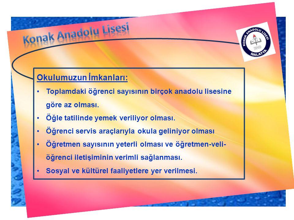 Konak Anadolu Lisesi Okulumuzun İmkanları: