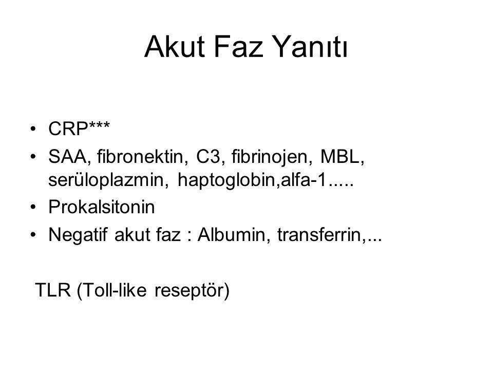 Akut Faz Yanıtı CRP*** SAA, fibronektin, C3, fibrinojen, MBL, serüloplazmin, haptoglobin,alfa-1.....