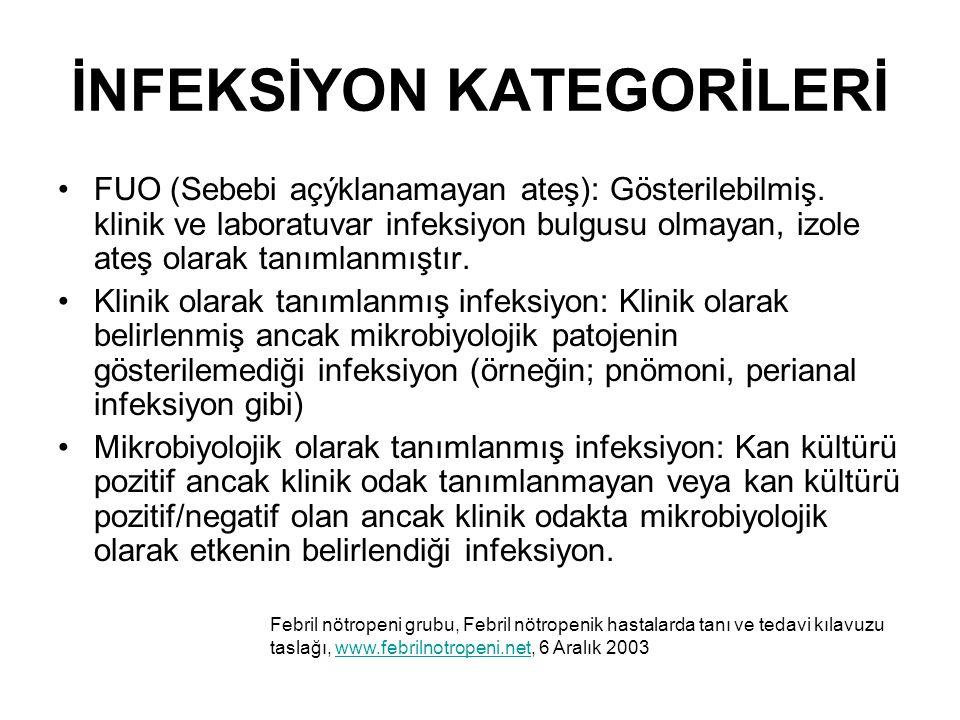İNFEKSİYON KATEGORİLERİ