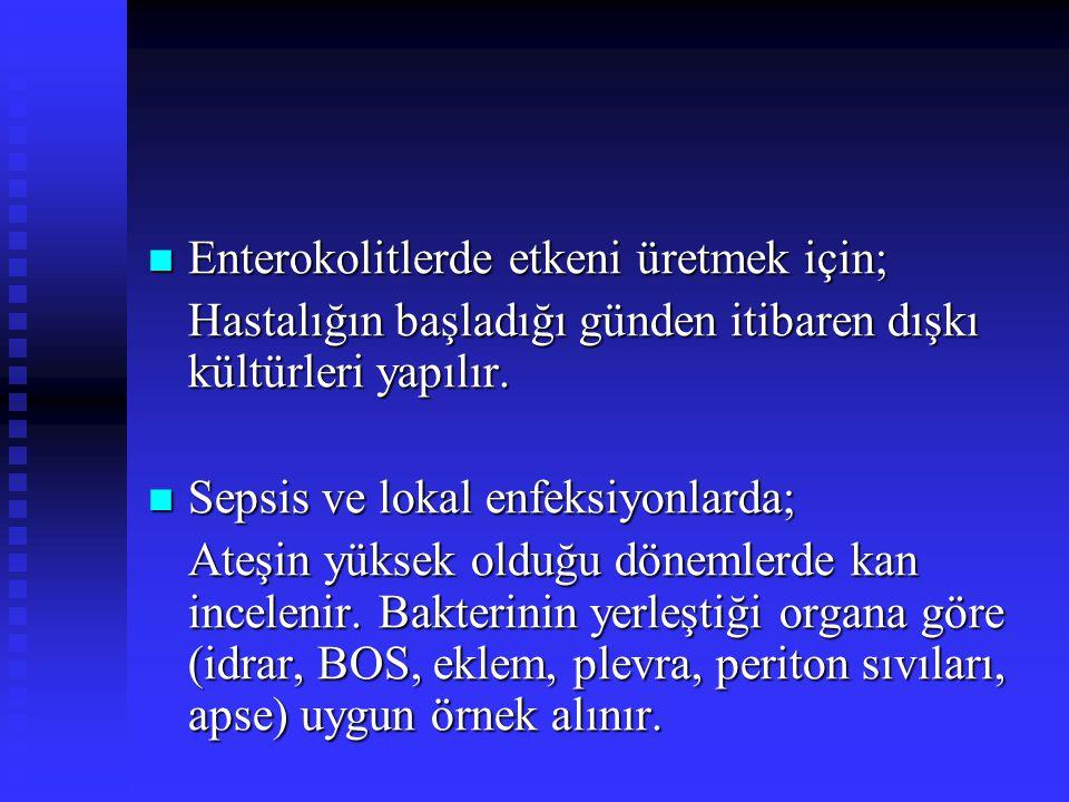 Enterokolitlerde etkeni üretmek için;