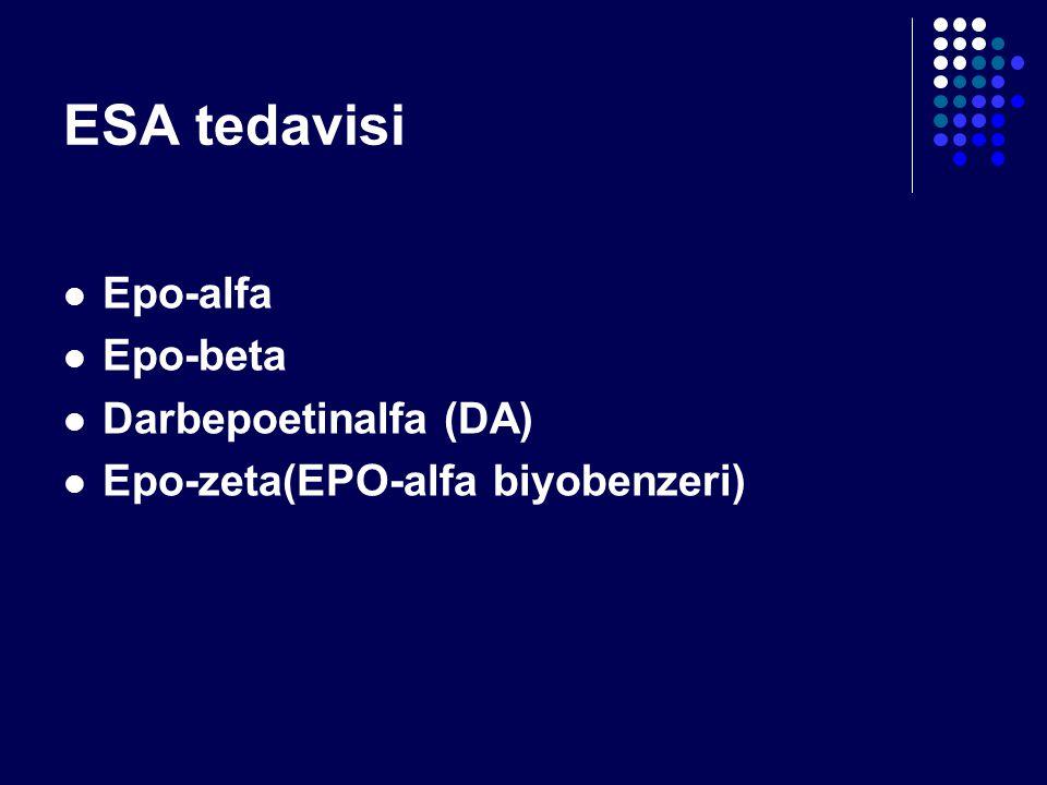 ESA tedavisi Epo-alfa Epo-beta Darbepoetinalfa (DA)