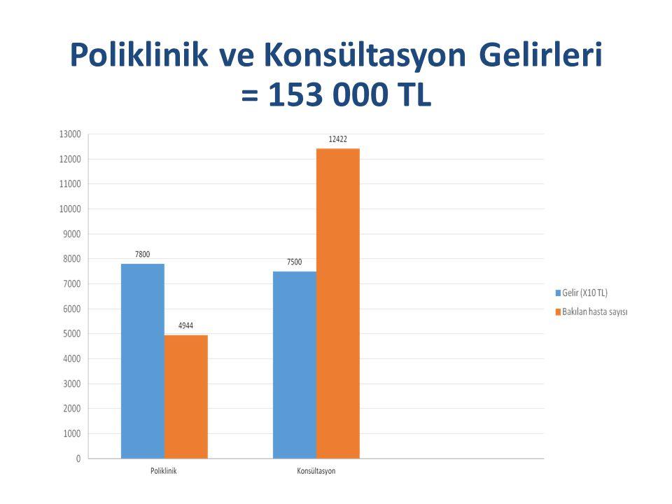 Poliklinik ve Konsültasyon Gelirleri = 153 000 TL