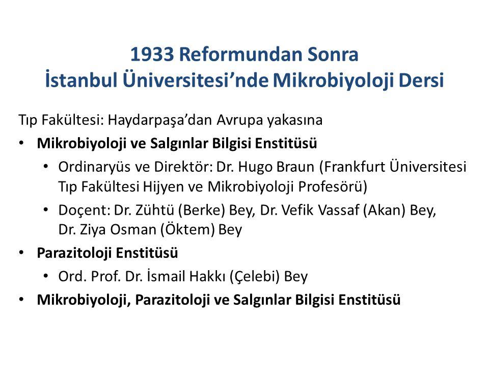 1933 Reformundan Sonra İstanbul Üniversitesi'nde Mikrobiyoloji Dersi