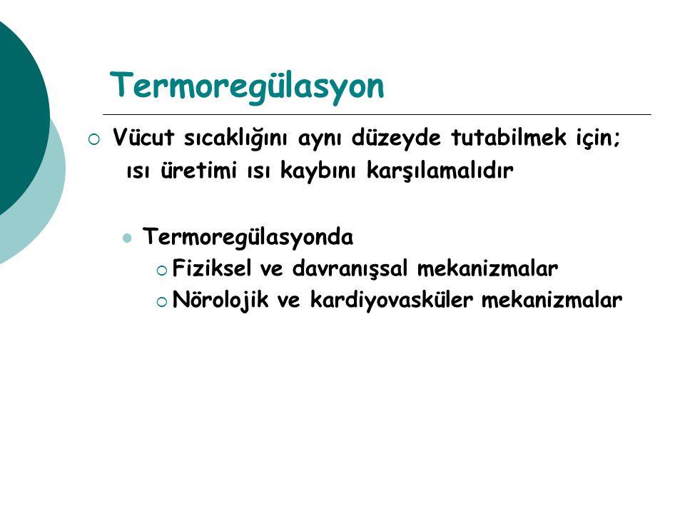 Termoregülasyon Vücut sıcaklığını aynı düzeyde tutabilmek için;