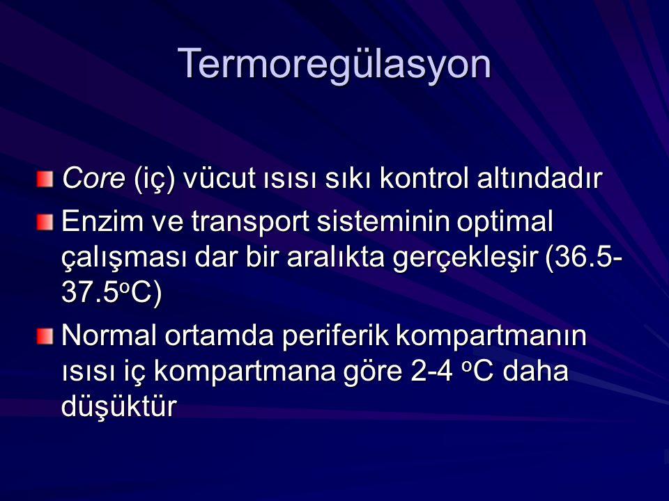 Termoregülasyon Core (iç) vücut ısısı sıkı kontrol altındadır