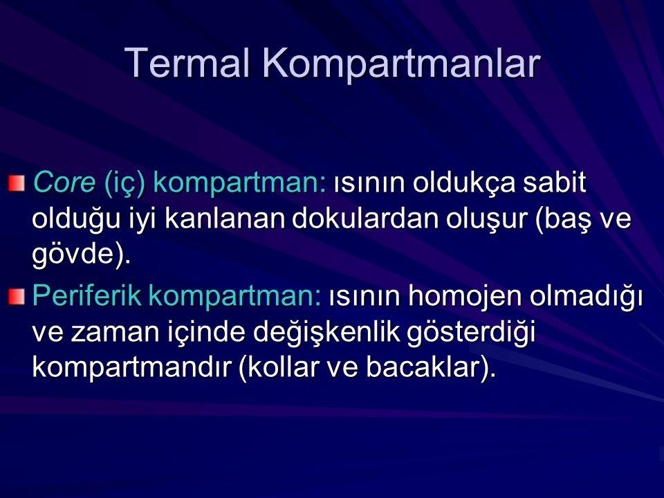 Termal Kompartmanlar Core (iç) kompartman: ısının oldukça sabit olduğu iyi kanlanan dokulardan oluşur (baş ve gövde).