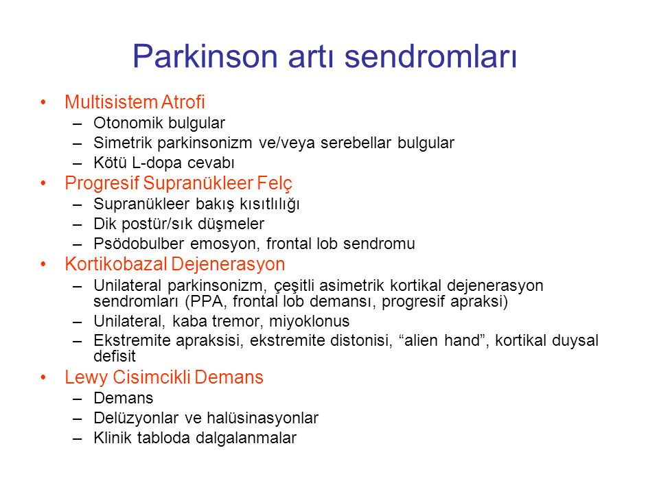 Parkinson artı sendromları