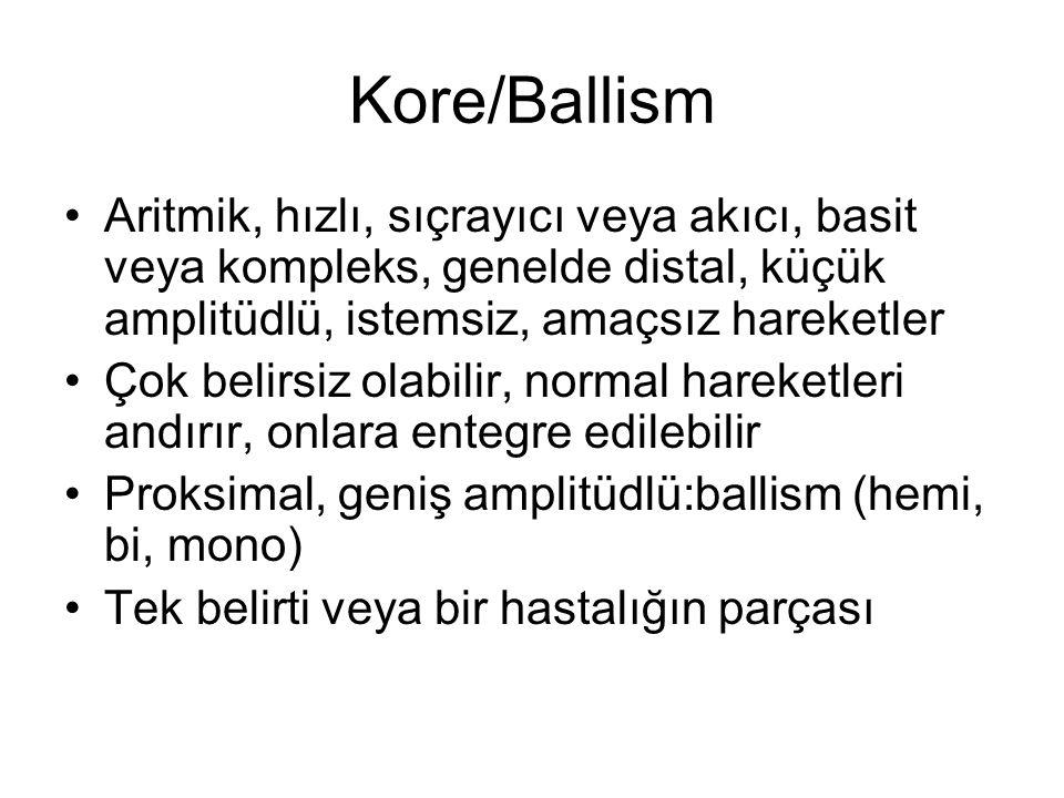 Kore/Ballism Aritmik, hızlı, sıçrayıcı veya akıcı, basit veya kompleks, genelde distal, küçük amplitüdlü, istemsiz, amaçsız hareketler.