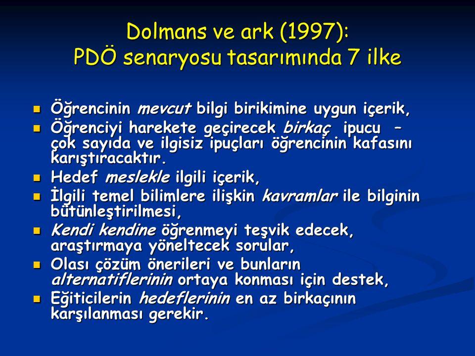 Dolmans ve ark (1997): PDÖ senaryosu tasarımında 7 ilke