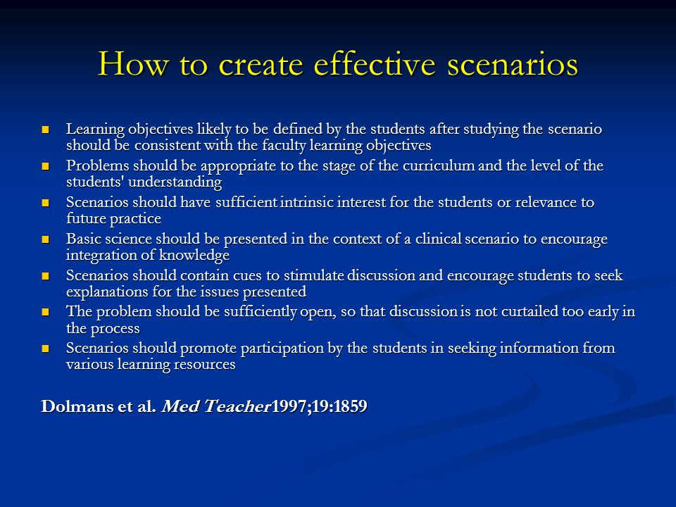How to create effective scenarios