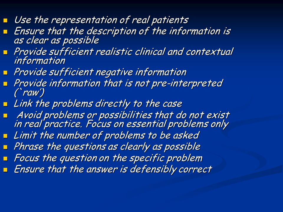 Use the representation of real patients