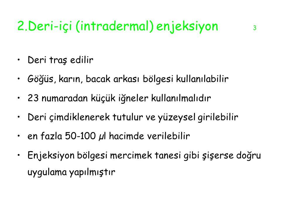 2.Deri-içi (intradermal) enjeksiyon 3
