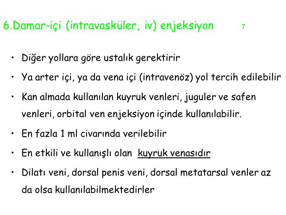 6.Damar-içi (intravasküler, iv) enjeksiyon 7