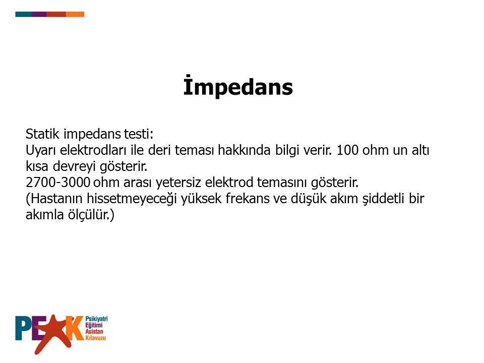 İmpedans Statik impedans testi: