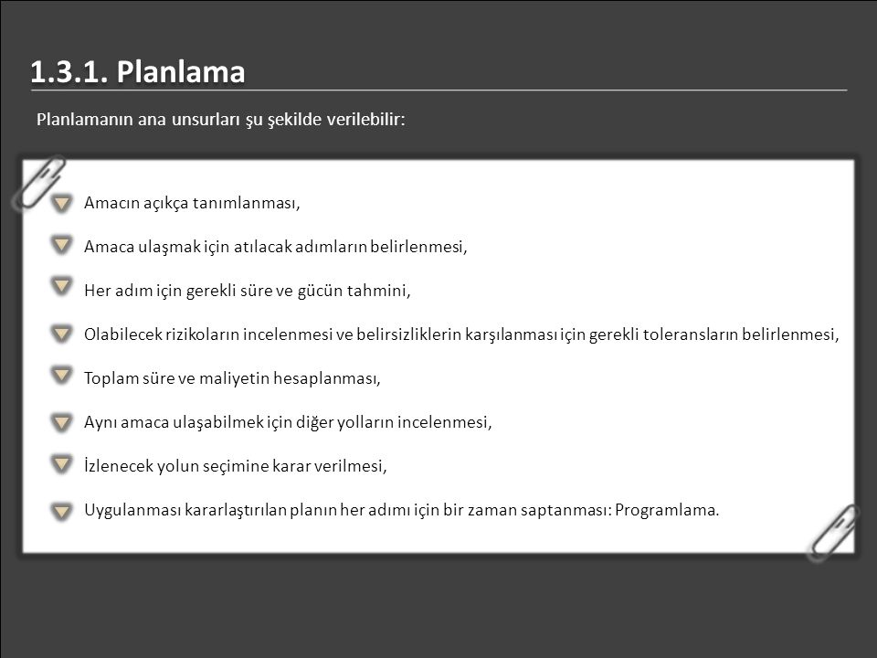 1.3.1. Planlama Planlamanın ana unsurları şu şekilde verilebilir: