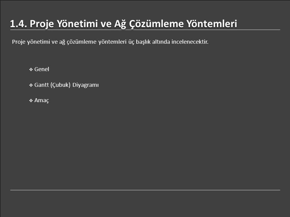 1.4. Proje Yönetimi ve Ağ Çözümleme Yöntemleri