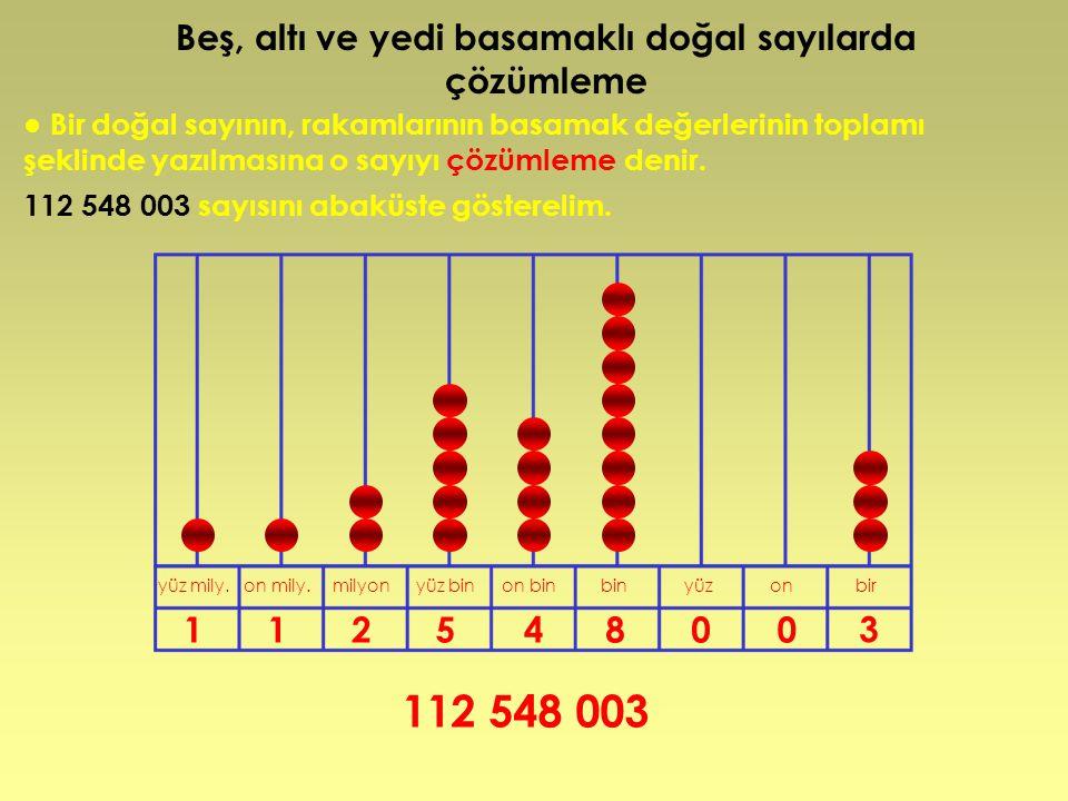 Beş, altı ve yedi basamaklı doğal sayılarda çözümleme