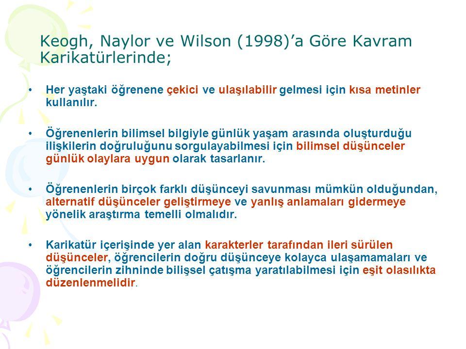 Keogh, Naylor ve Wilson (1998)'a Göre Kavram Karikatürlerinde;